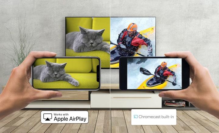 Un Android y un smartphone emitiendo contenido a un televisor Sony con Apple AirPlay y Chromecast