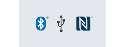 Logotipos de Bluetooth®, USB y NFC