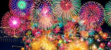 Fuegos artificiales con gran contraste y profundidad realista