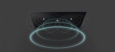 Imagen de las ondas sonoras del televisor con Acoustic Surface Audio+