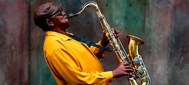 Imagen de músico en un concierto